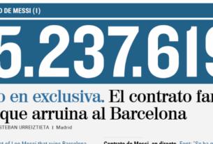 """2021年6月30日,将是梅西与巴塞罗那俱乐部现行合同到期的日子。近日,西班牙《世界报》揭秘了梅西合同的部分细节:四个赛季中,梅西的薪酬高达5.5亿欧元,被誉为""""体育史上最大的一份合同""""。"""
