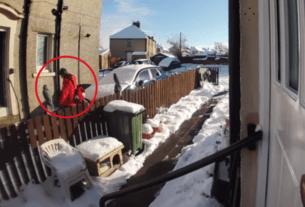 """据《7 news》新闻网站报道,近日,苏格兰的一段监控显示,一名快递小哥对摔倒的老人""""见死不救"""",兀自将其留在冰冷的雪地之中,引发了网友热议。"""