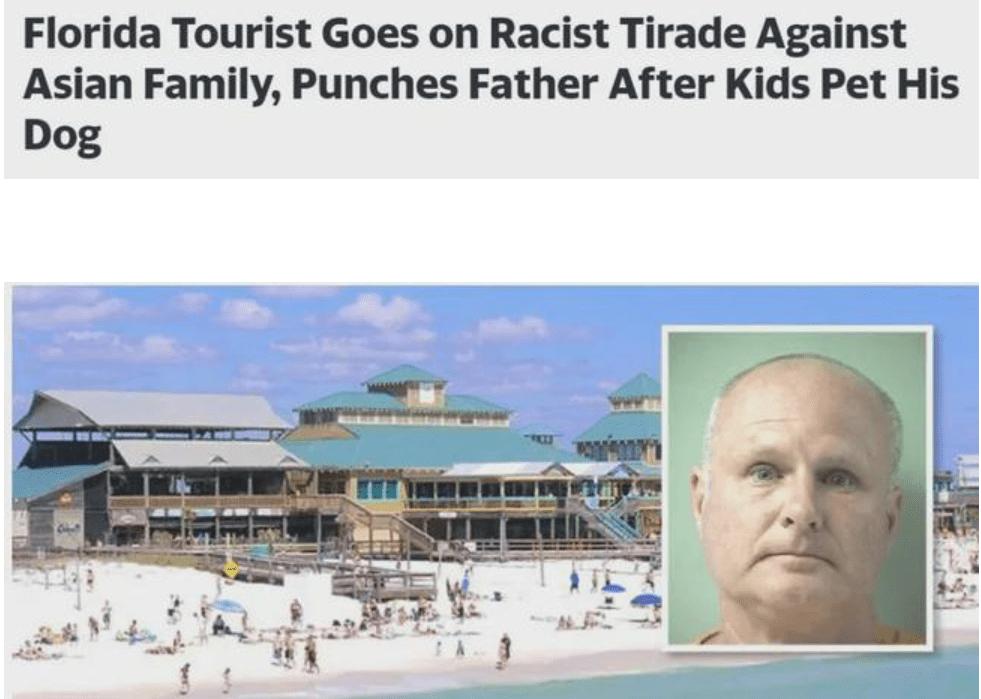 孩子摸狗引骂战老爸被揍怒拔枪!亚裔一家佛州遭袭白男被控仇恨罪