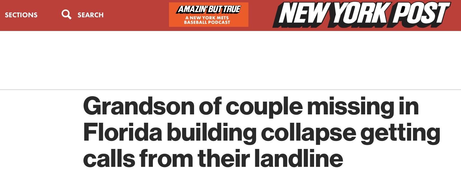 """祖父母在塌楼事件中失踪后, 男子接到16通""""诡异而神秘""""来电"""
